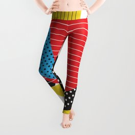 Memphis Sun Abstract Throwback Retro 1980s 80s Trendy Hipster Pattern Eighties Leggings