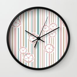 Retro . The floral pattern on striped background . Wall Clock