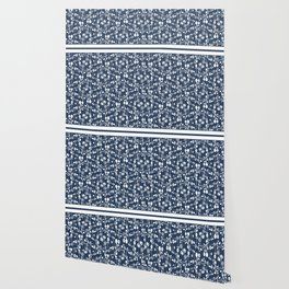 Country Flowers in Blue Cottage Chic Pattern Wallpaper