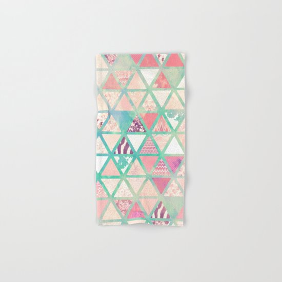 Pink Turquoise Abstract Floral Triangles Patchwork Hand & Bath Towel