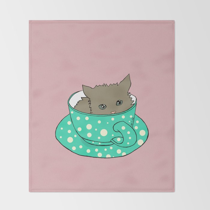 Fluffy Kitten In A Teacup Pink Background Throw Blanket