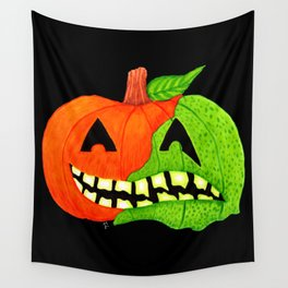 Poison Pumpkin Face Wall Tapestry