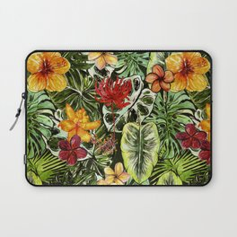 Tropical Vintage Exotic Jungle Flower Flowers - Floral watercolor pattern Laptop Sleeve