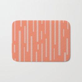 Interrupted Lines Mid-Century Modern Pattern in Coral Blush Pink Bath Mat