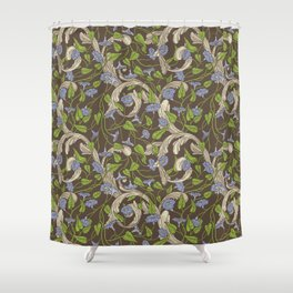 Blue morning glory with ornaments on brown background Shower Curtain