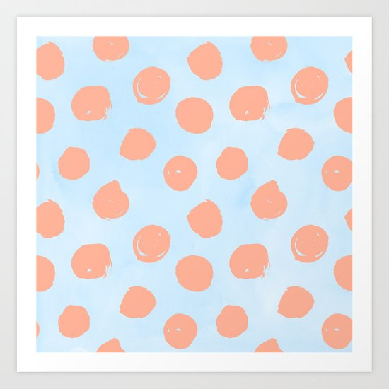 Sweet Life Dots Peach Coral Pink + Blue Raspberry Art Print