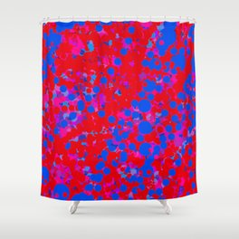 blue on red, circles Shower Curtain