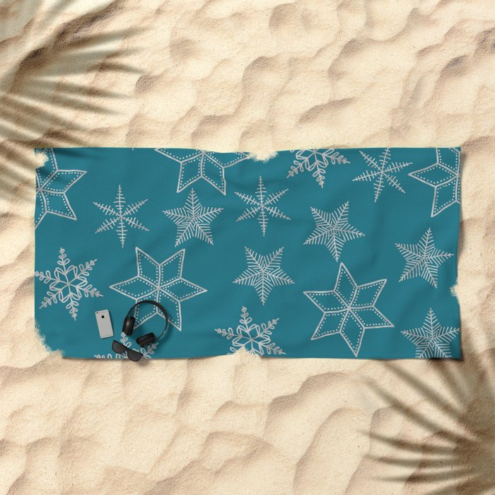 Silver Snowflakes On Teal Background Beach Towel
