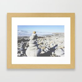 mini zen beach cairn Framed Art Print