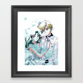 Haruka and Michiru Watercolor Framed Art Print