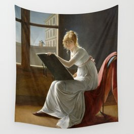 Young Woman Drawing - Marie Denise Villers Wall Tapestry