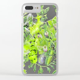 Chartreuse pattern Clear iPhone Case