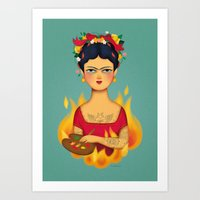 frida Art Prints featuring Frida by La Perera