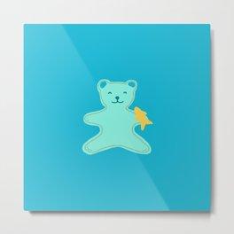 Turquoise Bear Metal Print