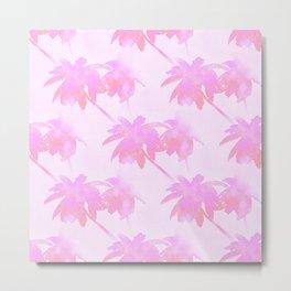 Pink Palm Trees Coastal Pattern Metal Print