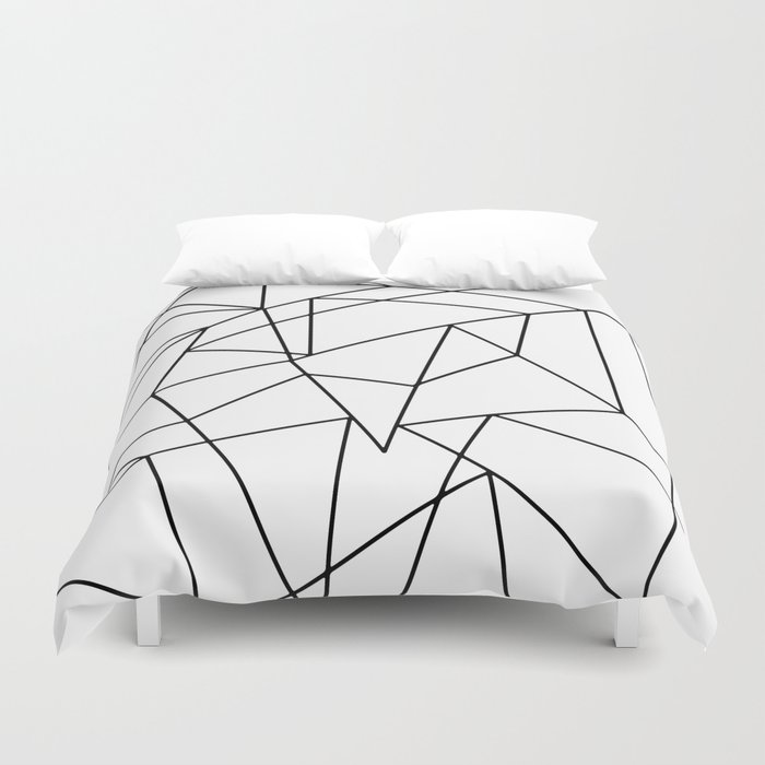 Simple Modern Black And White Geometric Pattern Duvet Cover By