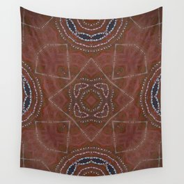 Desert Caravan // Gypsy Bohemian Tribal Native Rust Red Blue Geometric Abstract Design Masculine Men Wall Tapestry