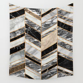 Abstract Chevron Pattern - Black and White Marble Wall Tapestry