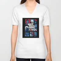 gta V-neck T-shirts featuring Doctor Who and GTA - Nerd Mix by MarcoMellark