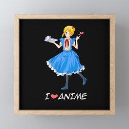 I Love Anime Short Hair Girl Otaku Kawaii Gift Framed Mini Art Print