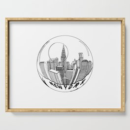 THE CITY of New York in a Suspended Bowl . Artwork Serving Tray