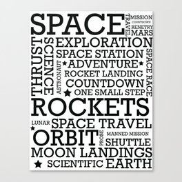 Space Text inspirational poster. Canvas Print