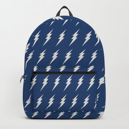 Lightning bolt pattern dark blue and white Backpack