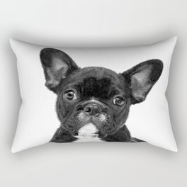 Black and White French Bulldog Rectangular Pillow