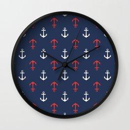 Nautical anchor pattern Wall Clock