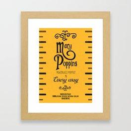 Mary Poppins poster, minimalist movie, Julie Andrews cult film, alternative affiche, Supercalifragi Framed Art Print