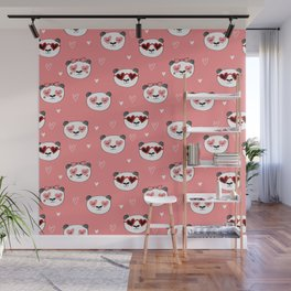 Panda Valentine's day animal love cute heart glasses valentine gifts Wall Mural