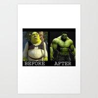 shrek Art Prints featuring Shrek Transformation by VeilSide07