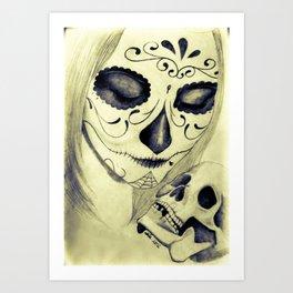 Painted Woman holding Skull Art Print