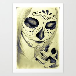 Painted Woman holding Skull Art Print