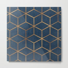 Dark Blue and Gold - Geometric Textured Cube Design Metal Print
