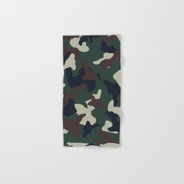 Green Brown woodland camo camouflage pattern Hand & Bath Towel