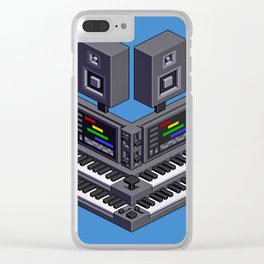 Electronic music altar — isometric pixel art Clear iPhone Case
