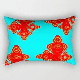 Retro Red Decorative Shapes on Turq Background Rectangular Pillow