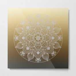 White Lace Floral Mandala of Flowers and Leaves on Golden Ombre Background Metal Print