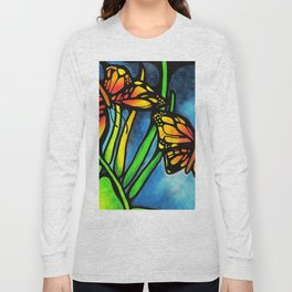 Beautiful Monarch Butterflies Fluttering Over Palm Fronds by annmariescreations Long Sleeve T-shirt