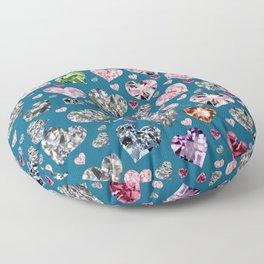 Heart Diamonds are Forever Love Blue Floor Pillow