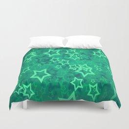 Green asterisks Duvet Cover
