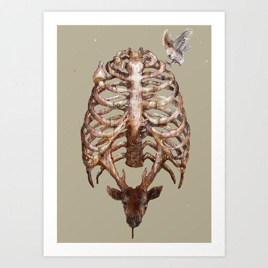 Deer & Ribcage Art Print