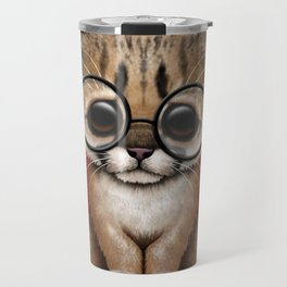 Cute Cougar Cub Wearing Reading Glasses on Red Travel Mug