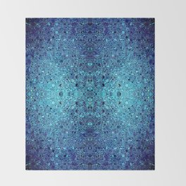 Deep blue glass mosaic Throw Blanket