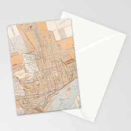 Vintage Map of Montreal Canada (1915) Stationery Cards