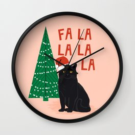 Black Cat cute fa la la christmas xmas tree holiday funny cat art cat lady gift unique pet gifts Wall Clock
