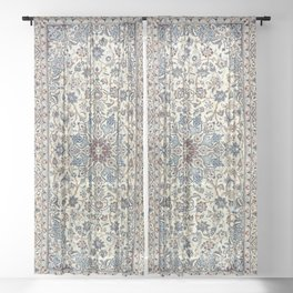 Persia Old Century Authentic Colorful Dusty Blue Gray Grey Vintage Accent Patterns Sheer Curtain