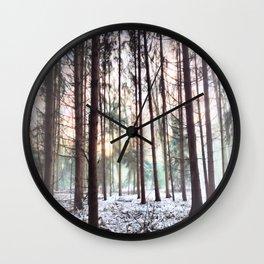 Soft Hazy Winter Forest Wall Clock