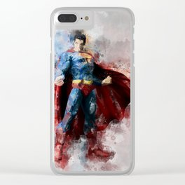 Superman watercolor Clear iPhone Case